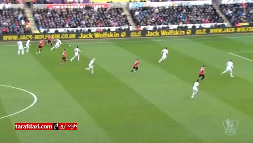 گل های بازی سوانزی 2-1 منچستریونایتد